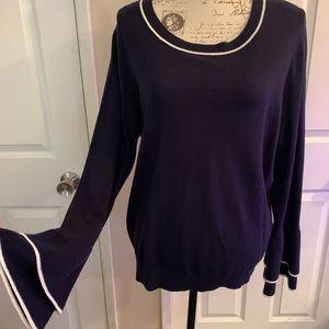 Boden Wool Cotton Long Sleeve Fae Sweater Navy 16